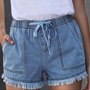 Blue Denim 4 Pocket Shorts w/Fringe